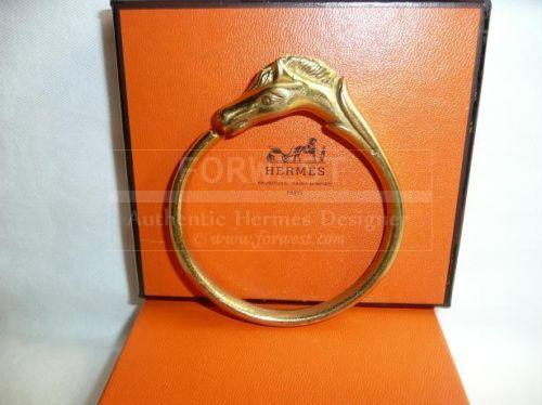 Authentic Hermes Gold Plate Horse Pony Bangle Bracelet Rare