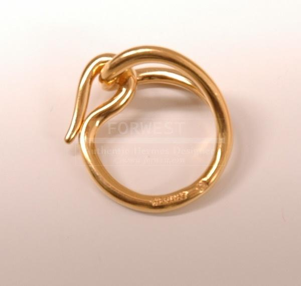 Authentic Hermes Gold Tone Belt Scarf Ring H235