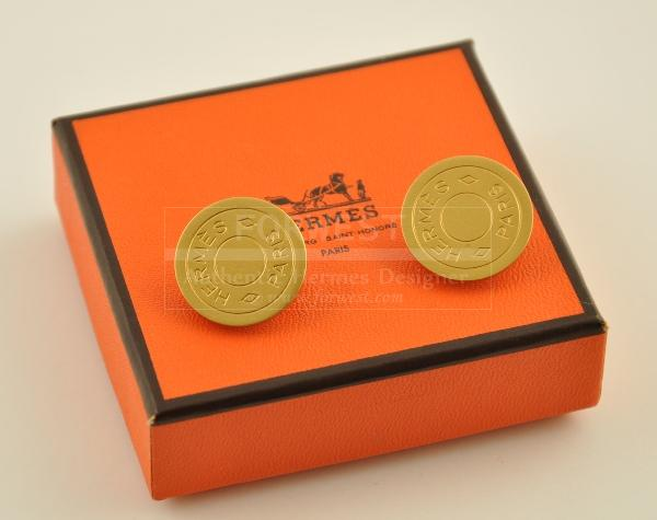 Authentic Hermes Gold Tone Round Earrings H178