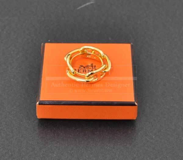 Authentic Hermes Gold Tone Scarf Ring Ragate Chain H318