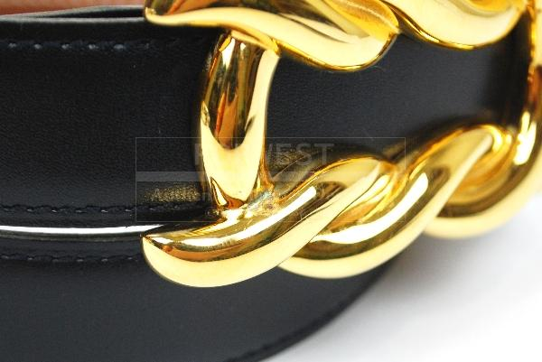 Authentic Hermes Goldtone Buckle Belt Reversible Leather Size 70