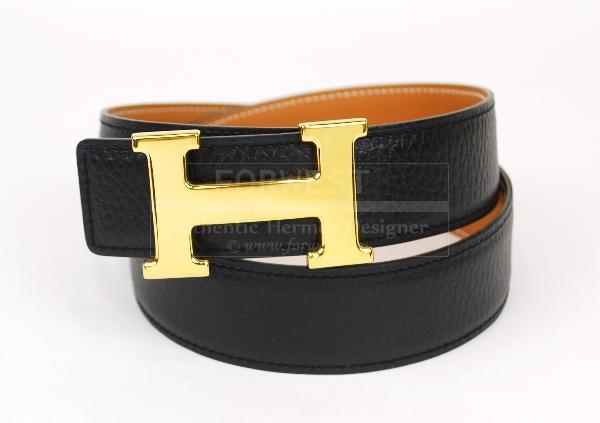 Authentic Hermes Goldtone H Buckle Belt 70 Reversible Leather