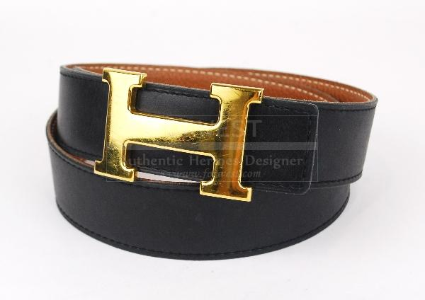 Authentic Hermes Goldtone H Buckle Belt 75 Reversible Leather