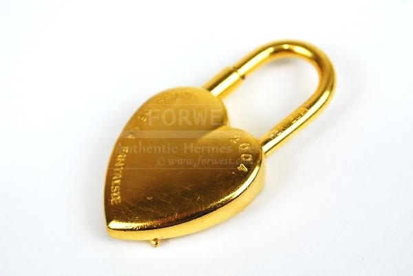 Authentic Hermes Goldtone Heart Cadena Lock Pendant Charm 2004