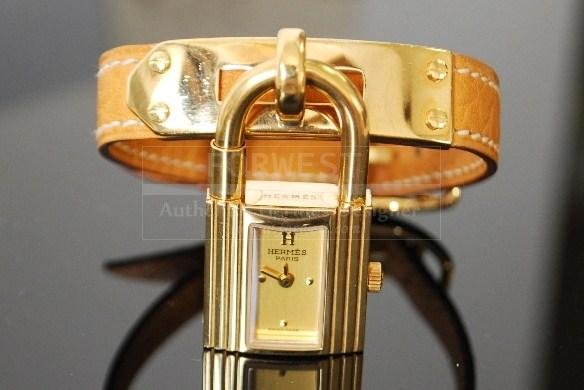 Authentic Hermes Goldtone Kelly Wrist Watch Brown Leather Belt