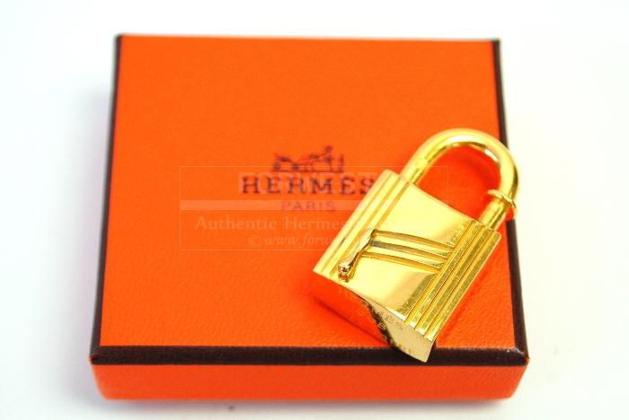 Authentic Hermes Goldtone arbre Tree Cadena Lock Charm Pendant