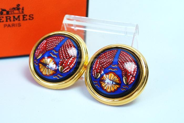 Authentic Hermes Goldtone Navy Red Enamel Clip On Earrings