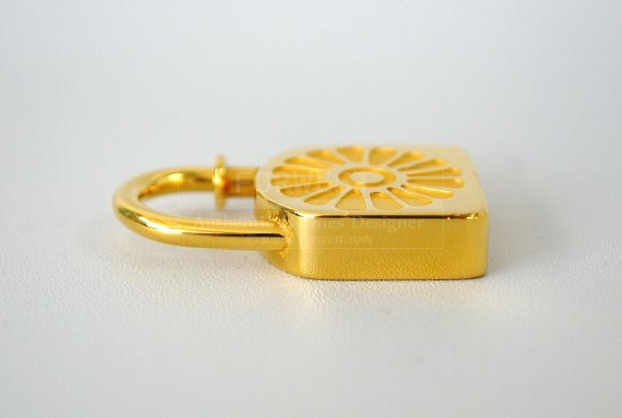 Authentic Hermes Goldtone Sun Soleil Cadena Lock Pendant 1994