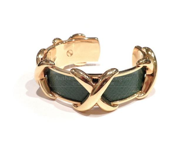 Authentic Hermes Green Couchevel Cuff Bracelet