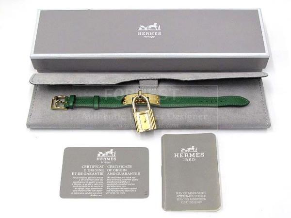 Authentic Hermes Green Couchevel Gold Kelly Watch