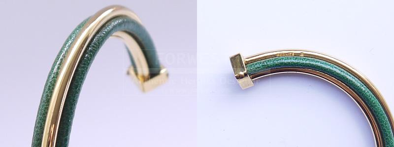 Authentic Hermes Green K18 Yellow Gold Bangle Bracelet Box