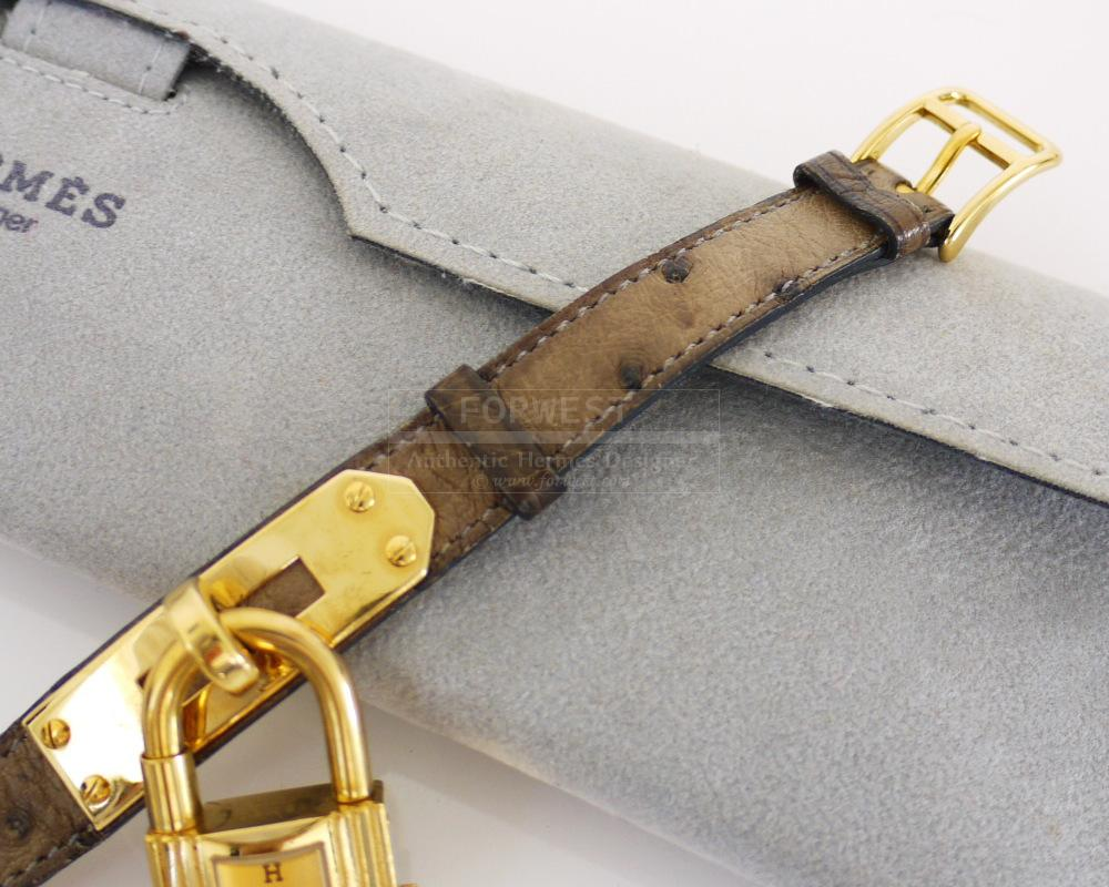 Authentic Hermes Gris Elephant Ostrich Kelly Watch Rare