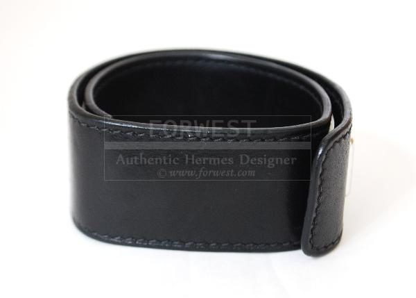 Authentic Hermes H Black Leather Wide Cuff Bangle Bracelet