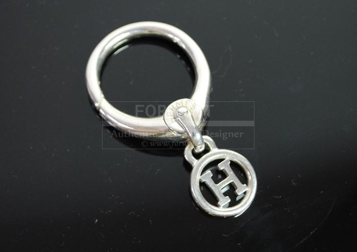 Authentic Hermes H Logo Key Holder Ring Bag Charm Sterling Silver