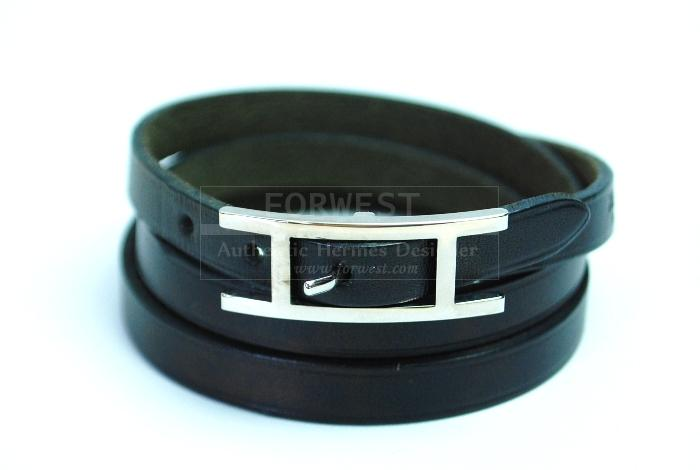 Authentic Hermes Hapi Black Leather Bracelet Triple Wrap