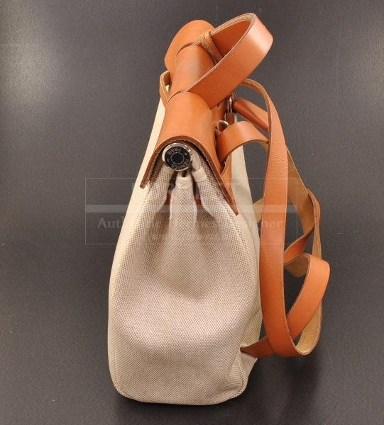 Authentic Hermes Herbag 2 In 1 Beige Canvas Sand Leather Backpack H303