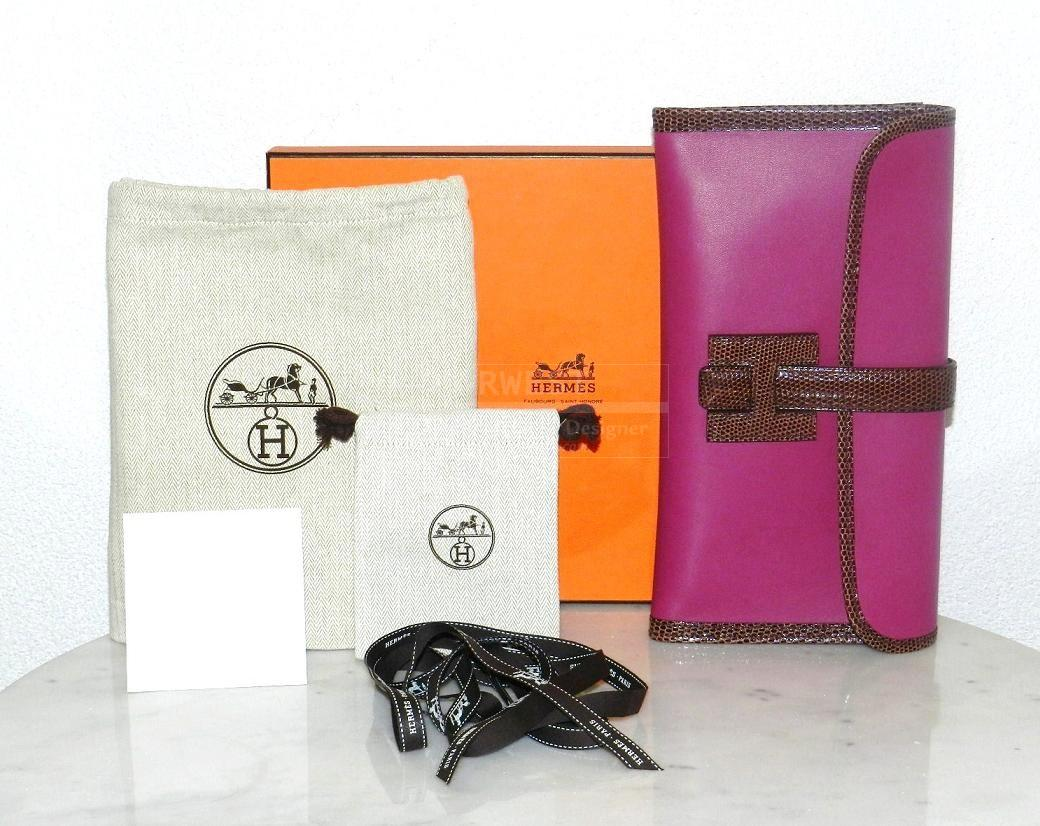 Authentic Hermes Jige Tosca Terre Lizard Pochette Clutch Brand New