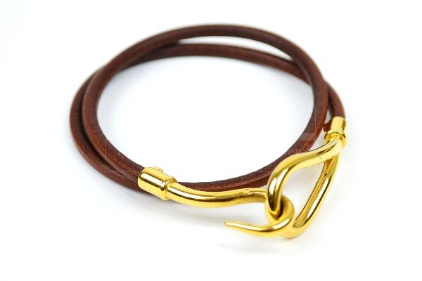 Authentic Hermes Jumbo Hook Leather Necklace Double Bracelet