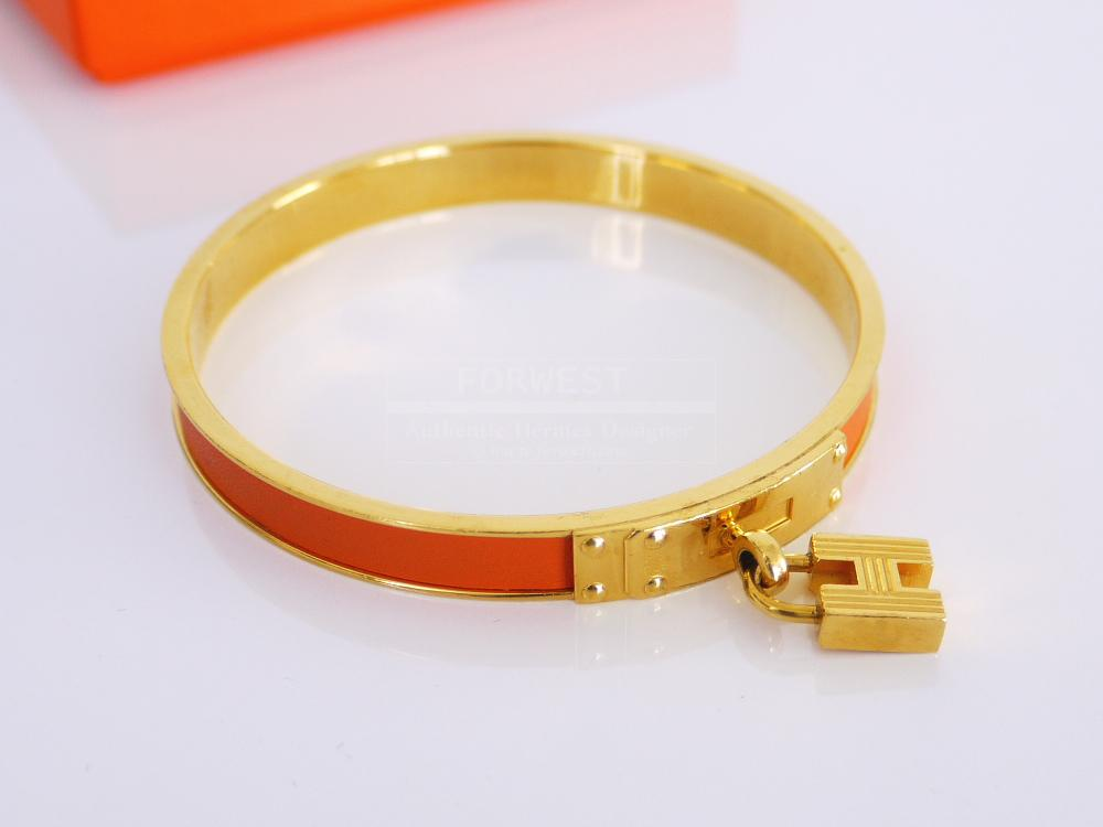 Authentic Hermes K18 Gold Plating Kelly Bangle Bracelet Orange