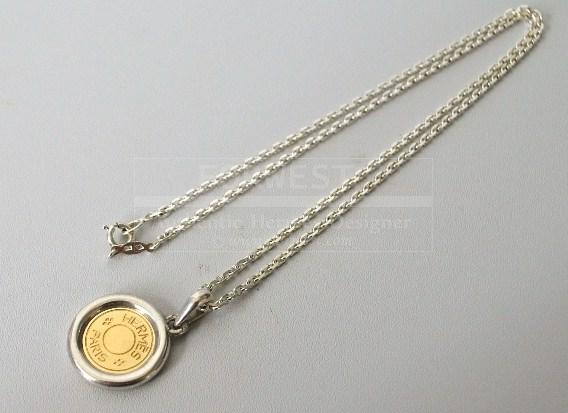 Authentic Hermes K18 Gold X Sterling Silver Pendant Necklace
