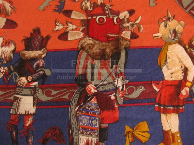 Authentic Hermes Kachinas Stole Cashmere Silk Scarf