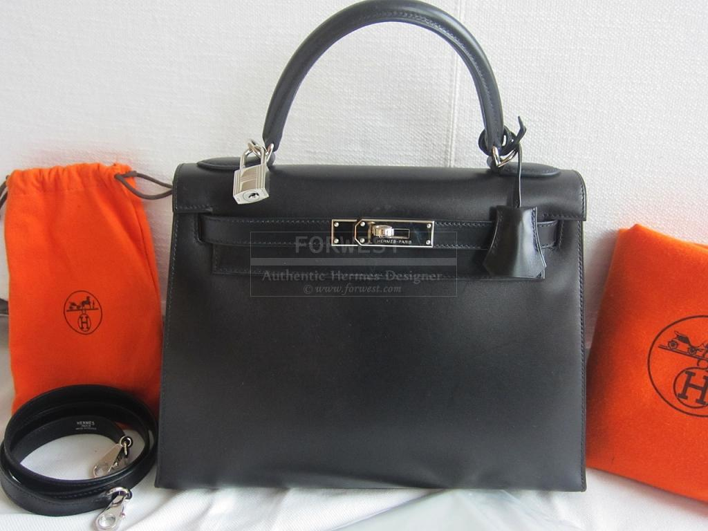 d1f53c7ca127 Authentic Hermes Kelly 28cm Sellier Black Box Palladium Hardware ...
