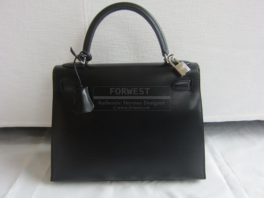Authentic Hermes Kelly 28cm Sellier Black Box Palladium Hardware
