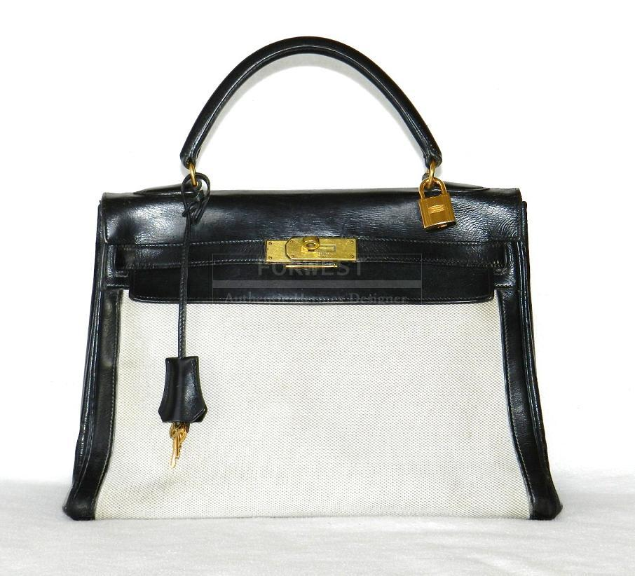 768d98220395 Authentic Hermes Kelly 32 Cm Toile Black Box Ghw- 3990.0000