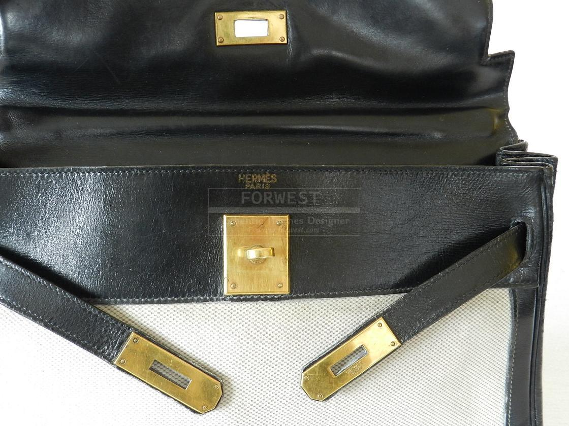 Authentic Hermes Kelly 32 Cm Toile Black Box Ghw