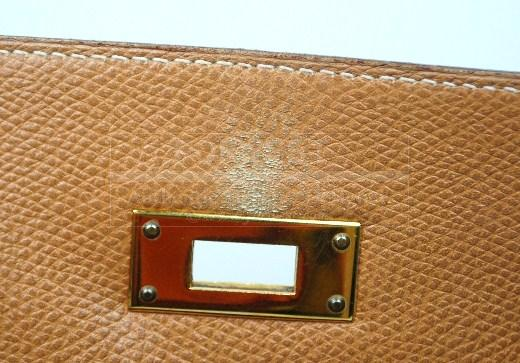 Authentic Hermes Kelly 32 Courchevel Gold Leather Hand Bag Ghw