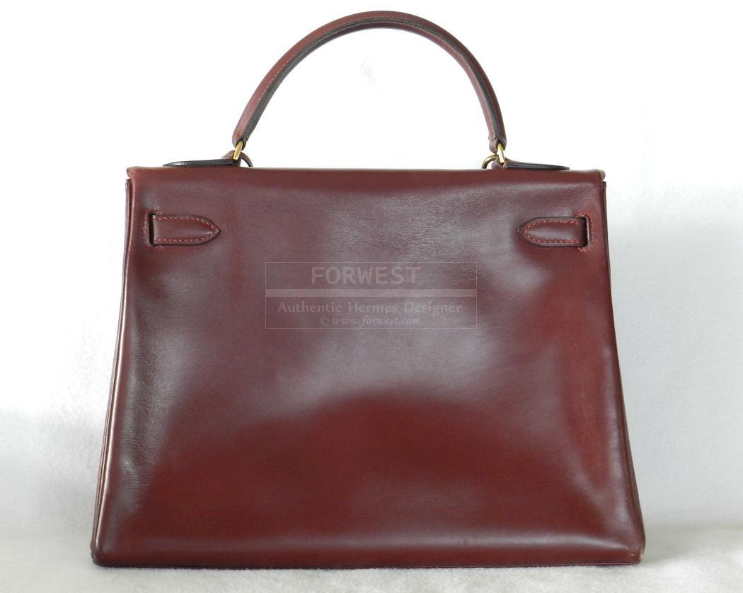 Authentic Hermes Kelly 32cm Vintage Rouge Box Leather Gold Hw