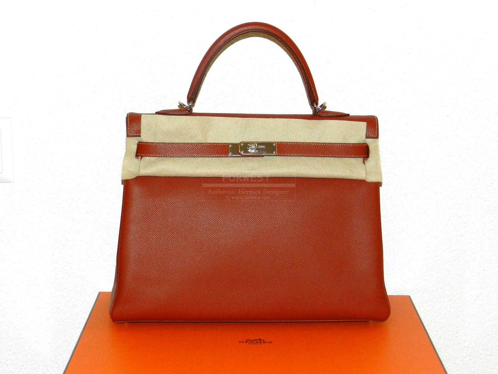 Authentic Hermes Kelly 35 Epsom Candy Brique orange Interior Brand New