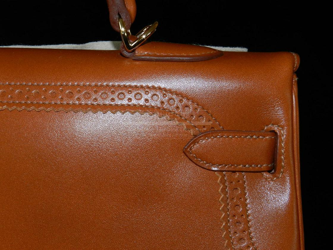 Authentic Hermes Kelly 35cm Ghillies Fauve Veau Tadelakt Rare