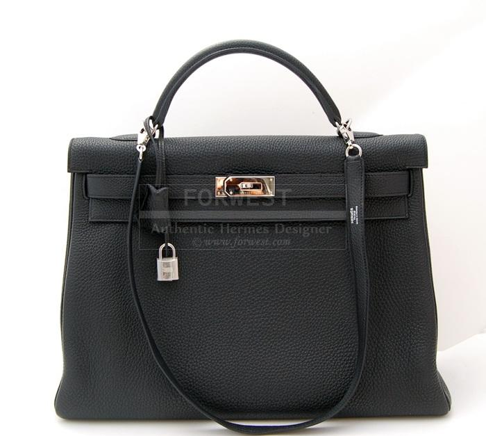 Authentic Hermes Kelly 40cm Black P H W Togo