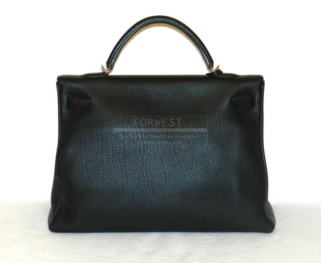 Authentic Hermes Kelly 40cm Black Togo Palladium Hardware New