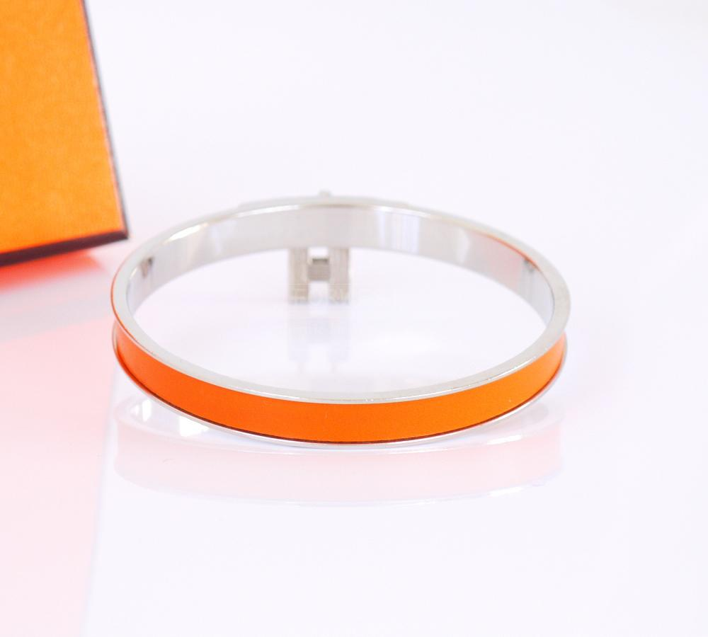Authentic Hermes Kelly Bangle Bracelet Orange Calf Silver