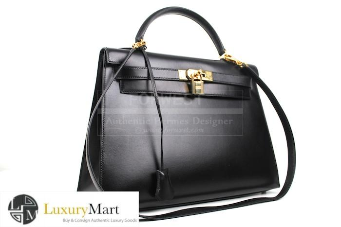 Authentic Hermes Kelly Black Box 32 Cm Bag