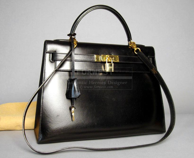 Authentic Hermes Kelly Black Box Calf Leather 32cm Bag-$5200.0000