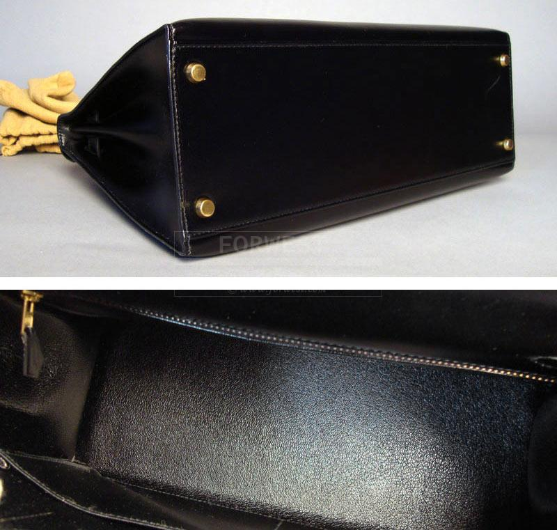 Authentic Hermes Kelly Black Box Calf Leather 32cm Bag
