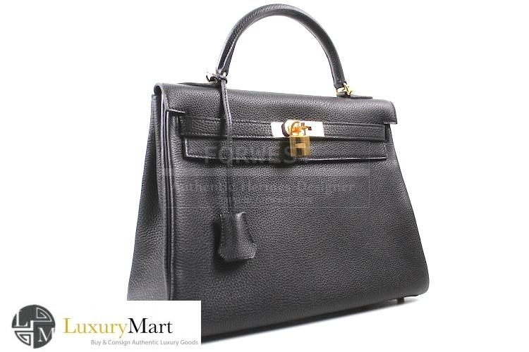 Authentic Hermes Kelly Black Togo Retourne 32 Cm Bag New-$12685.0000