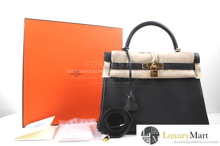 Authentic Hermes Kelly Black Togo Retourne 32 Cm Bag New