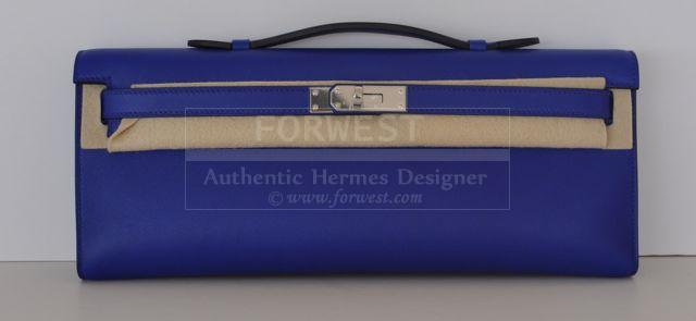 Authentic Hermes Kelly Cut 29cm Clutch Electric Blue Palladium