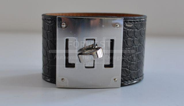 Authentic Hermes Kelly Dog Black Croc Alligator Shiny Small Scales