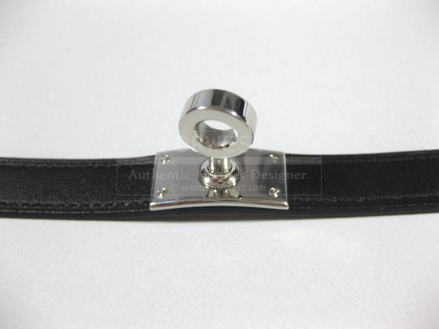 Authentic Hermes Kelly Double Tour Black Leather Bracelet Size S