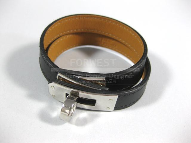 c2d9ce1e8c ... cheap authentic hermes kelly double tour black leather bracelet size s  df480 8b00c