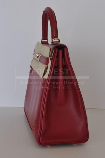 Authentic Hermes Kelly Ghillies 32cm Rubis Tadelakt Pbhw