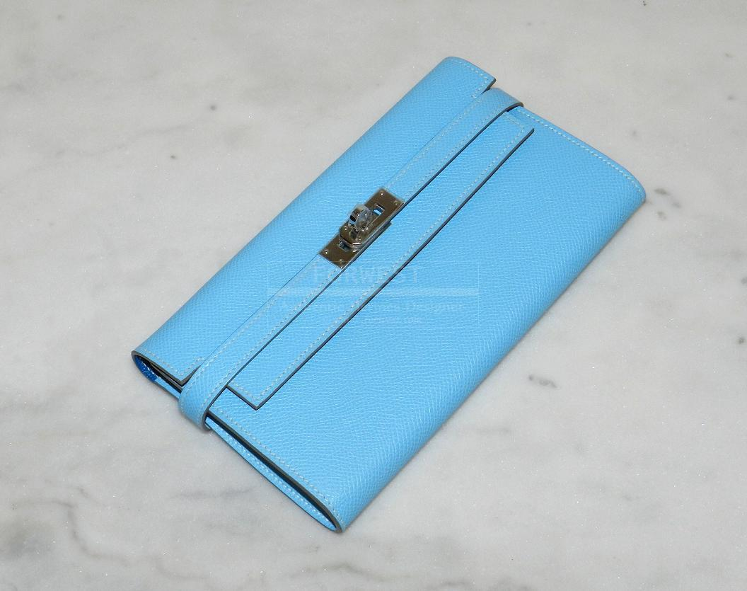 Authentic Hermes Kelly Long Wallet Celeste mykonos Brand New