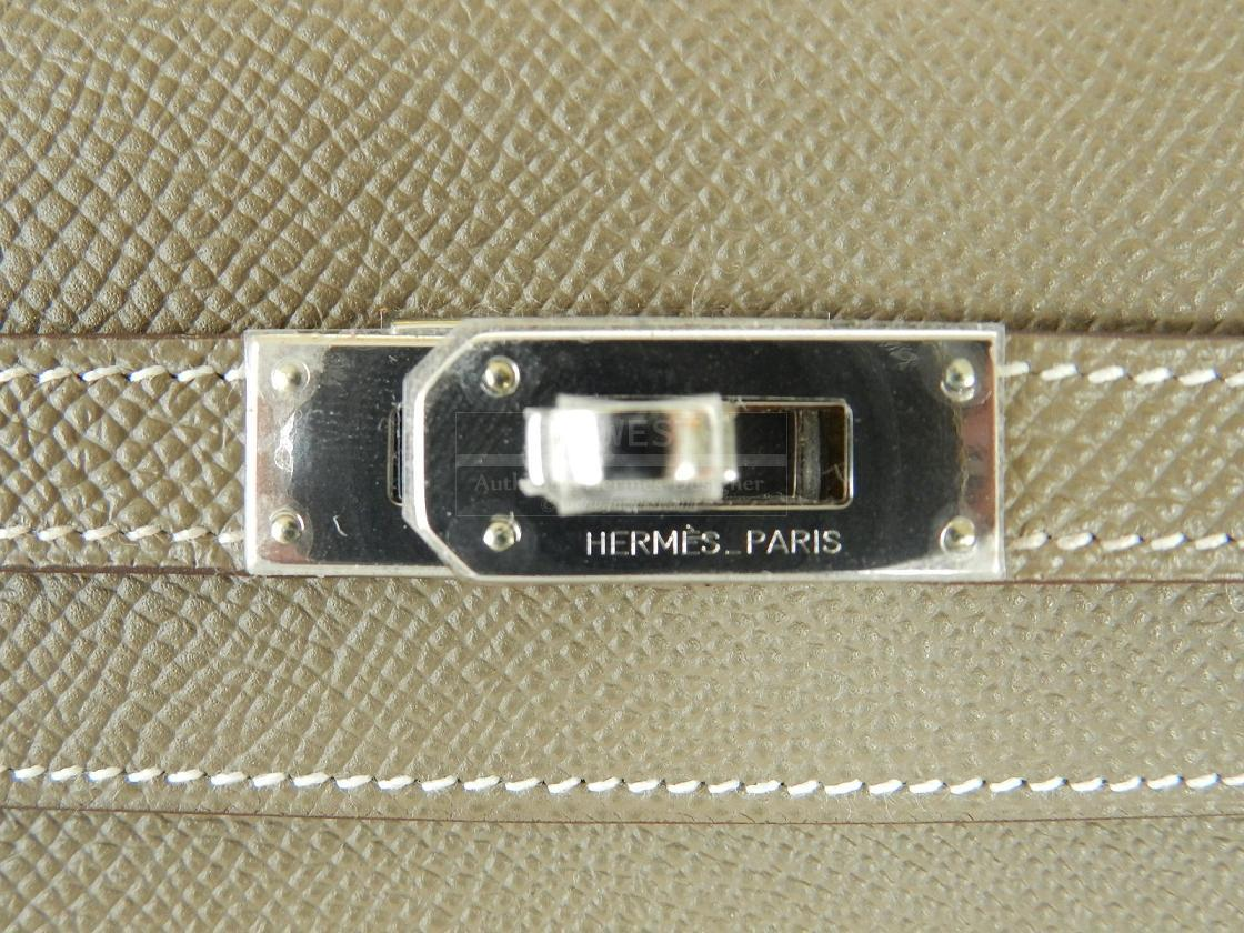 Authentic Hermes Kelly Long Wallet Etoupe Epsom Palladium Hw