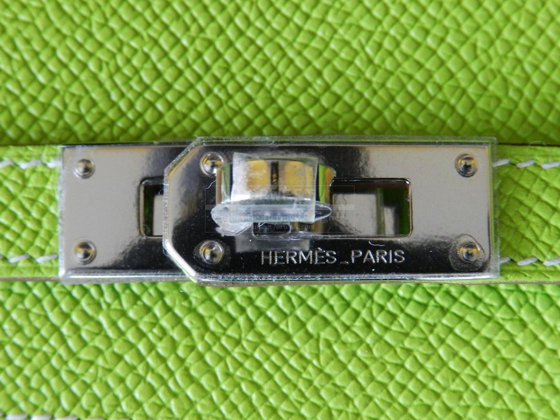 Authentic Hermes Kelly Long Wallet Kiwi lichen Palladium Hw