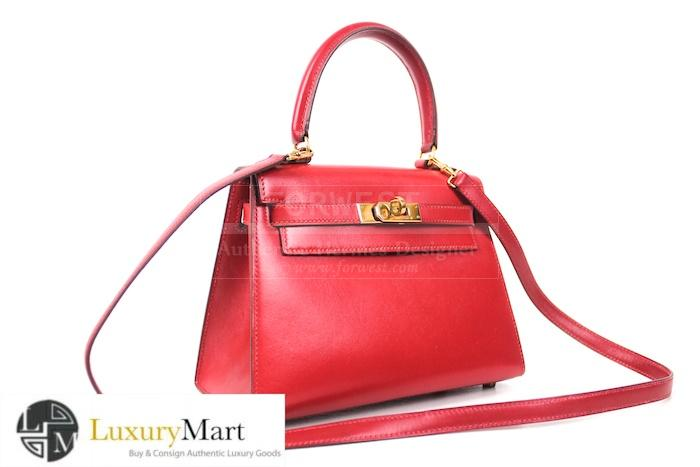 Authentic Hermes Kelly Red Box Leather 20 Cm Bag